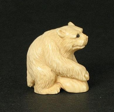 7: Unique Mammoth Ivory Netsuke Polar Bear Carving