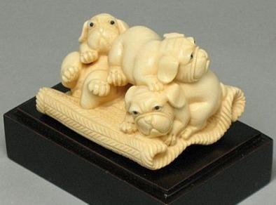 14: Handcrafted Mammoth Ivory Figurine Cute Pug Dogs