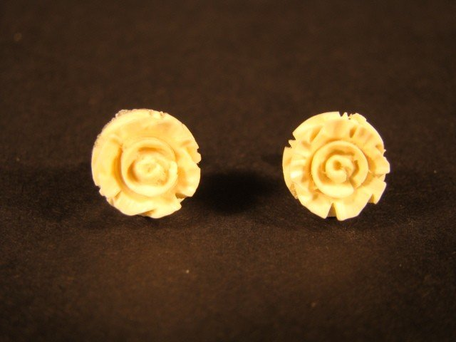 18: Very Rare Hand Carved Ivory Blooming Rose Earrings