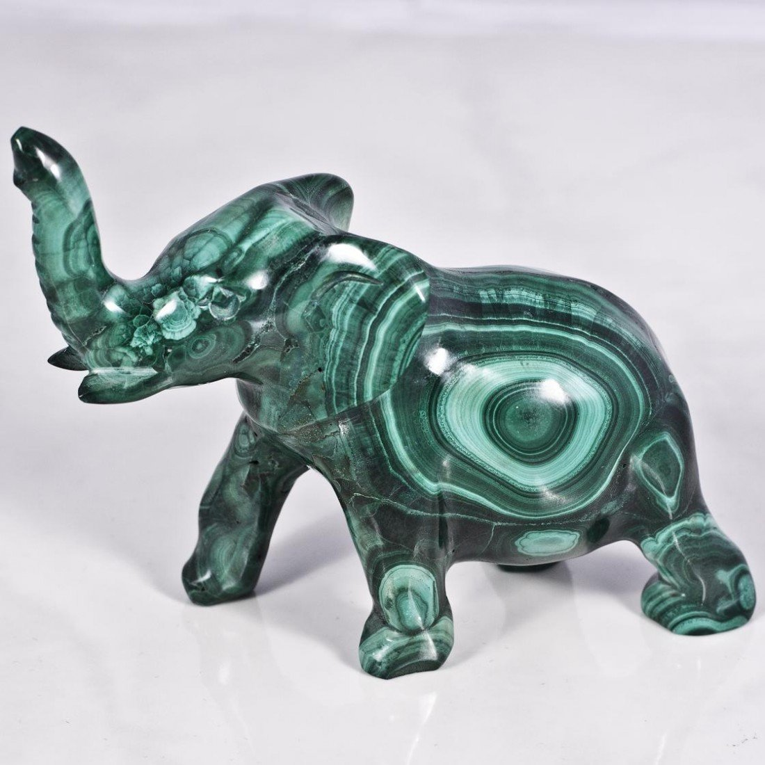 21: Malachite Mineral Figurine Lucky Elephant