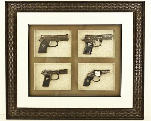 21: Collectible Framed Miniature Gun Replica Set