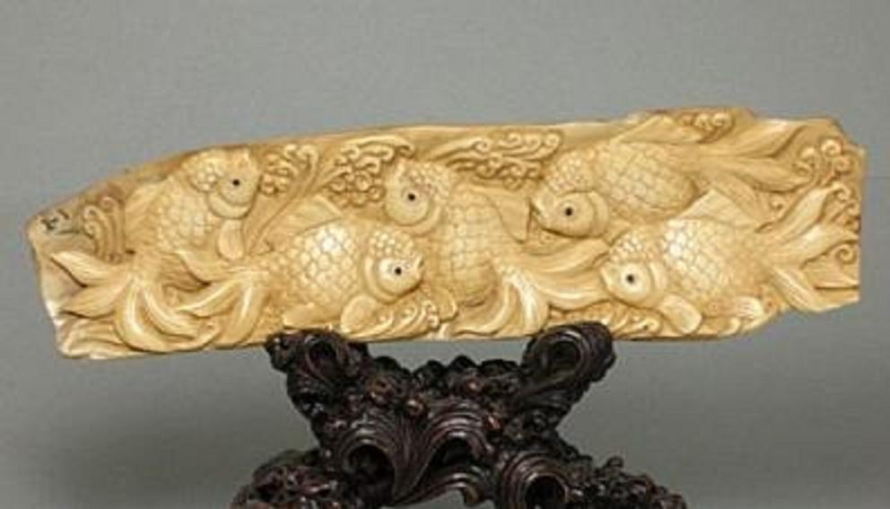 Handcrafted Mammoth Ivory Figurine Swimming Goldfish