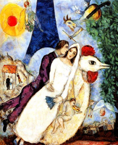 18: Marc Chagall BRIDE & GROOM OF THE EIFFEL TOWER Limi