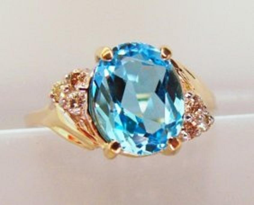 20: Blue Topaz and Diamond Ring - Appraised at $4,400