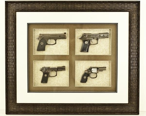 21: Collectible Framed Miniature Gun Replica Set