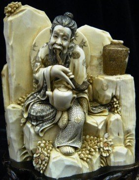 322: Rare Hand Carved Ivory Smoking Old Man
