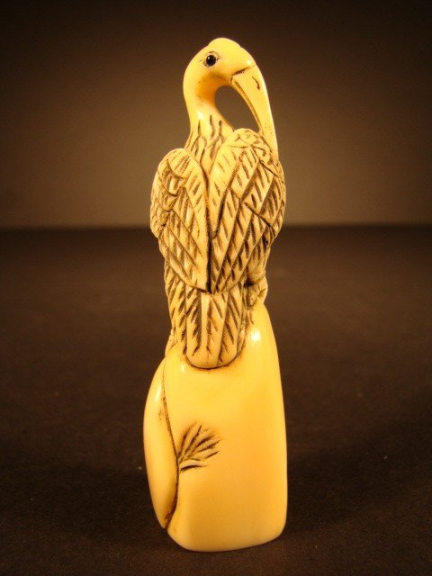 39: Rare Hand Carved Ivory Figurine The Grooming Crane