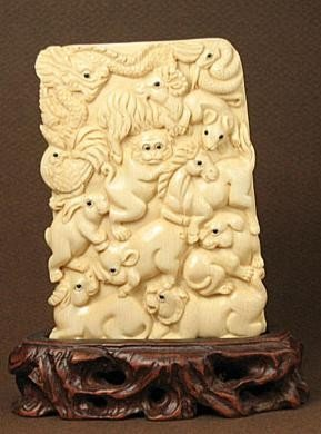 265: Handcrafted Mammoth Ivory Carving 12 Zodiac Animal