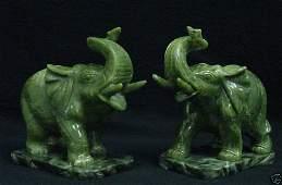 283: SET PAIR REAL JADE ELEPHANTS