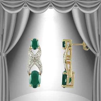 13: Genuine 3 CT Emerald Agate Diamond Earrings