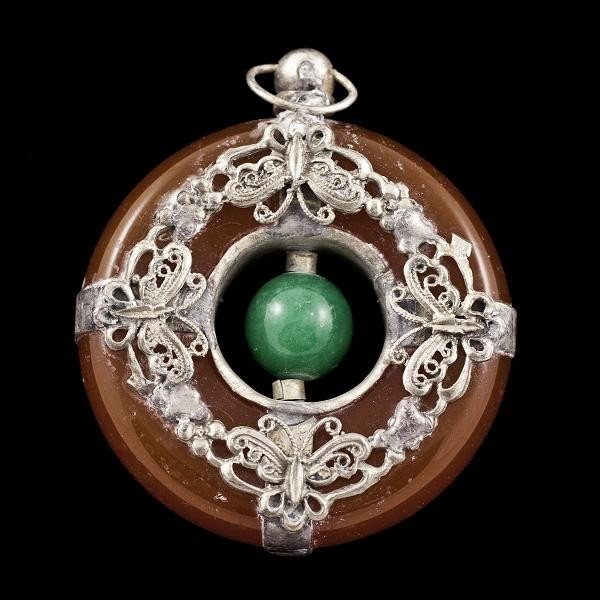 18: Antique Jade Alloy Lucky Dragon Spit Pearl Pendant