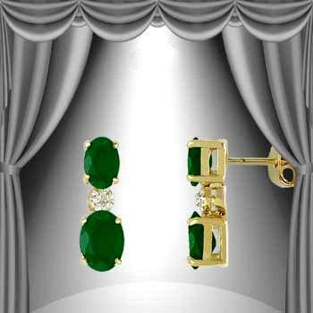 21: Genuine 3 CT Emerald Earrings