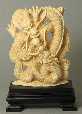"""Mammoth Ivory """"Double Dragon With Ball"""" Carving"""