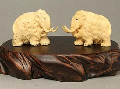 Mammoth Ivory WOOLY MAMMOTH Carving (in pair)