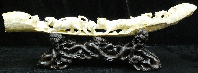 15: Hand Carved Natural Mammoth Ivory Tigers Mountain