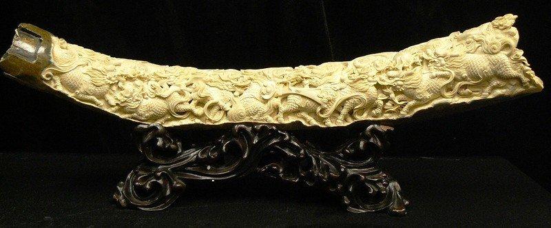 19: Rare Natural Mammoth Ivory Nine Kylins