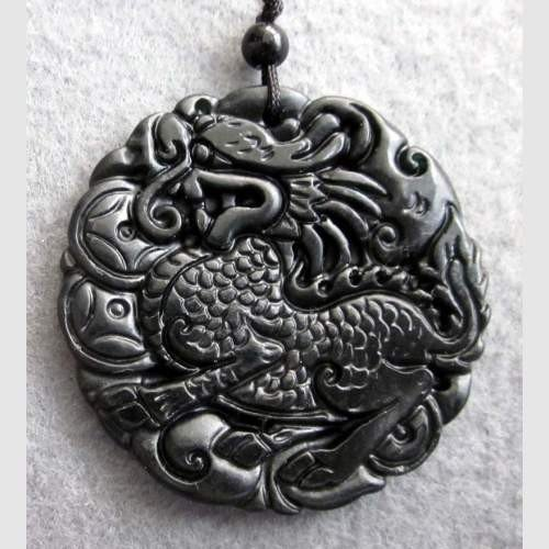 9: Black Green Jade Fortune Kylin Dragon Amulet Pendant