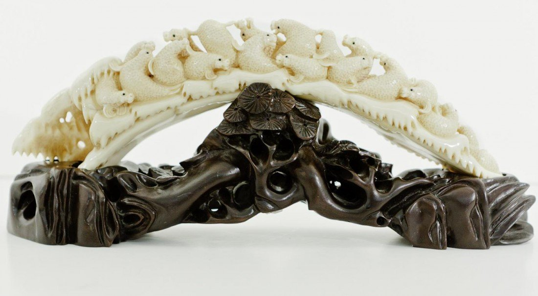 168: Chinese Carved Mammoth Ivory Seal Mountain