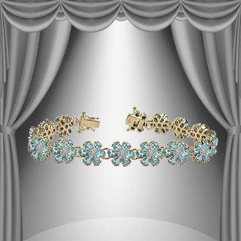 7: 22 CT Blue Topaz Diamond Bracelet Appraised at $3,45