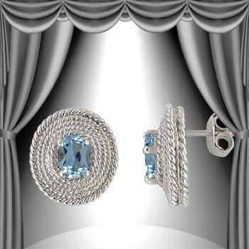 8: Genuine 1 CT Blue Topaz Earrings