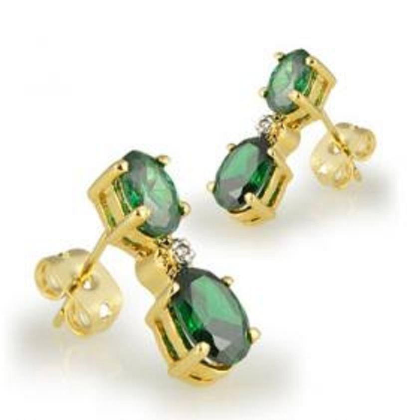 13: Genuine 3 CT Emerald Earrings