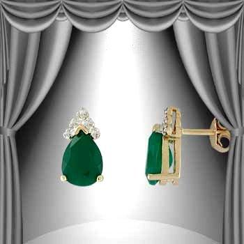 14: Genuine 3 CT Emerald Diamond Teardrop Earrings