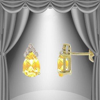 23: Genuine 3 CT Citrine Diamond Teardrop Earrings
