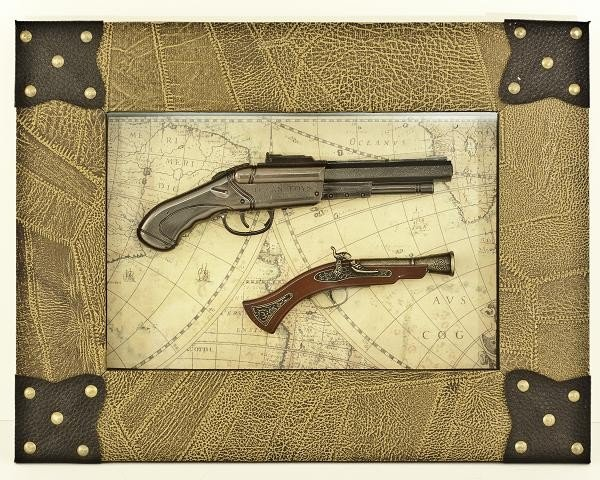 4: Collectible Framed Miniature Gun Replica Set