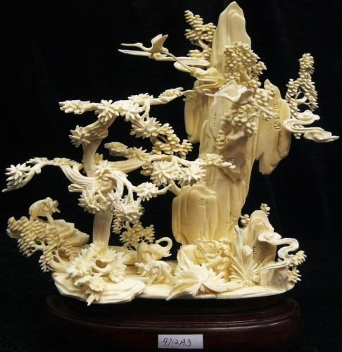 9: Hand Carved Natural Cow Bone Elephants Mountain