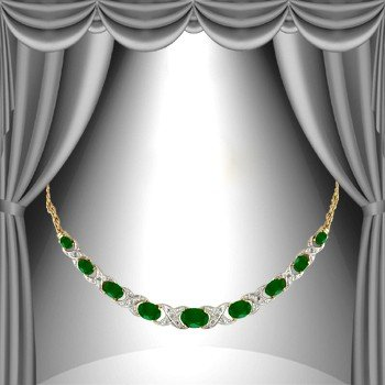 11: Genuine 12 CT Emerald Agate Diamond Necklace