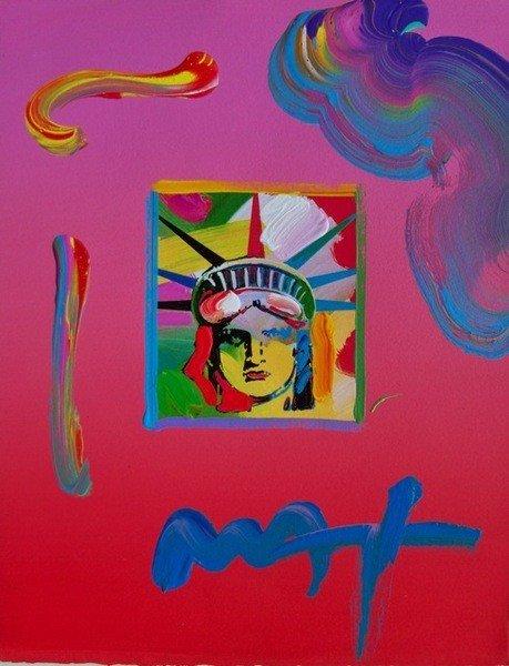 81: Peter Max LIBERTY HEAD 3 Hand Signed Original Mixed
