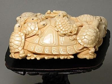 "11: Mammoth Ivory ""14 Tortoise Group"" Carving - 2"