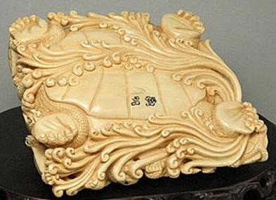 "11: Mammoth Ivory ""14 Tortoise Group"" Carving - 4"