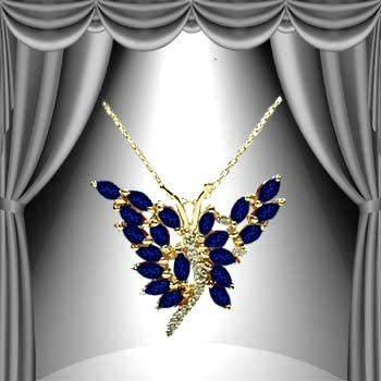 21: 3 CT Midnight Blue Sapphire Diamond Butterfly Penda