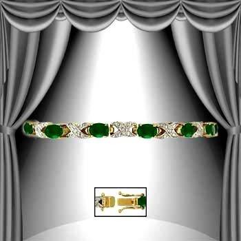 4: 8 CT Emerald Diamond Bracelet
