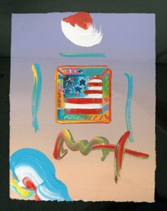 """7: """"Flag With Heart"""" by Peter Max"""