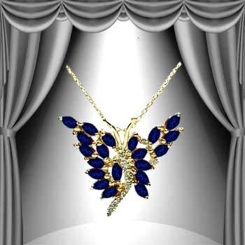 21: 3 CT Midnight Blue Sapphire Diamond Butterfly Penda