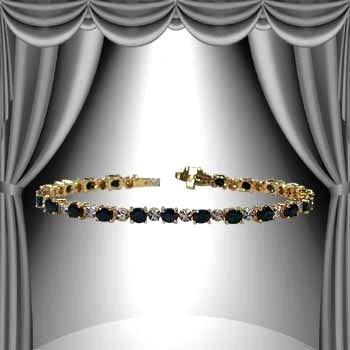 3: 10 CT Sapphire Diamond 18K Tennis Bracelet