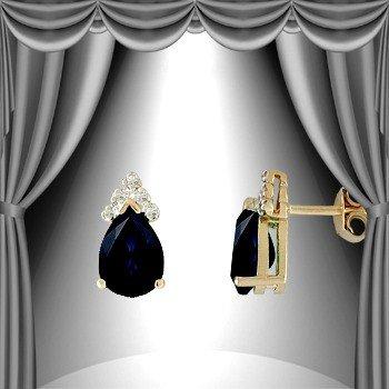4: 3 CT Sapphire Diamond Teardrop Earrings