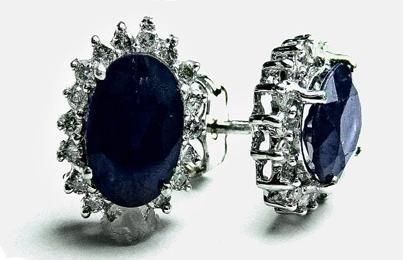 116: 2.16 CT Blue Sapphire Diamond Earrings $5,750