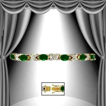 4: 8 CT Emerald Diamond Bracelet