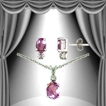 7: 3.2 CT Amethyst Diamond Solitaire Suite