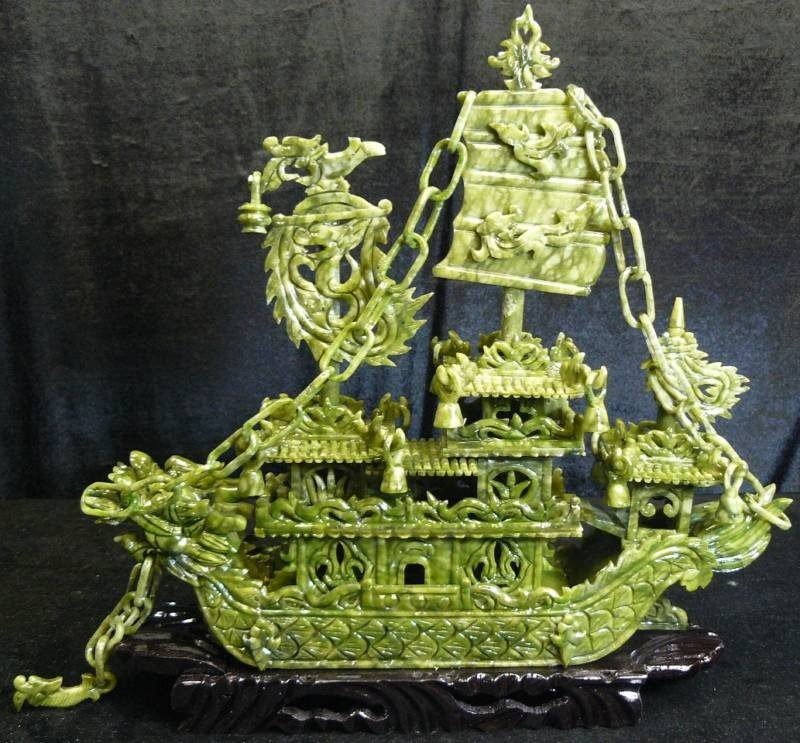 "14: 24"" GREEN JADE DRAGON BOAT"