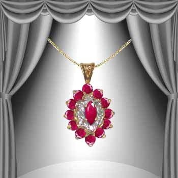 18: Genuine 3.3 CT Ruby Diamond 14K Pendant