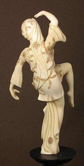 616: Mammoth Ivory EUROPEAN DANCING LADY Carving