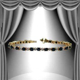 10 CT Sapphire Diamond 18K Tennis Bracelet