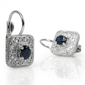 Genuine 1 CT Sapphire Silever Leverback Earrings