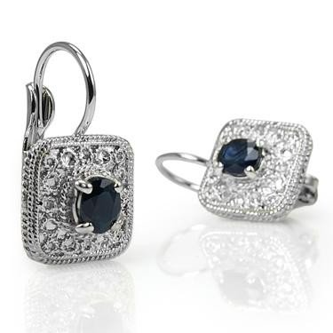 9: Genuine 1 CT Sapphire Silever Leverback Earrings