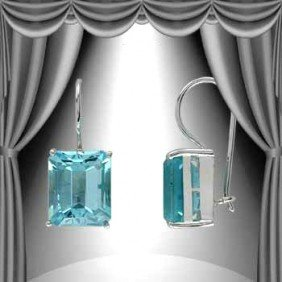 4.4 CT Emerald Cut Blue Topaz Silver Leverback