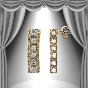 Genuine 0.25 CT Diamond Dangle Earrings
